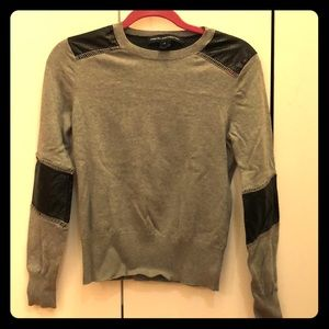French Connection Gray & Vegan Leather Sweater